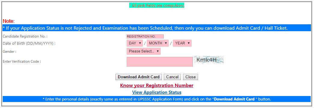 UPSSSC Revenue Inspector Examination Admit Card 2016
