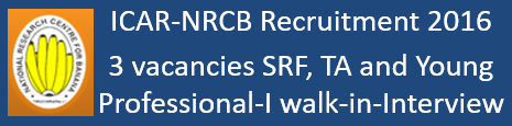 ICAR-NRCB Walk-in-Interview 2016