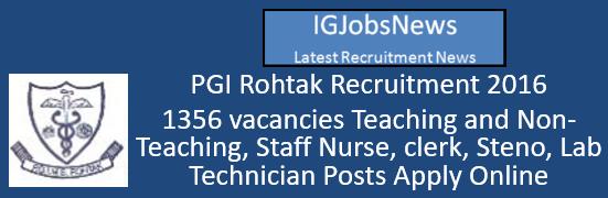 PGI Rohtak Recruitment 2016 – 1356 vacancies Teaching and