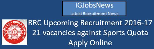 RRB Sports Quota Recruitment October 2016