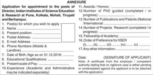 iiser-dirctor-vacancy-application-format