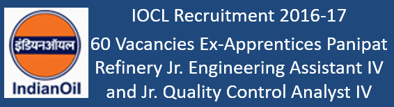 IOCL Ex-Apprentice Appointment Govt. Jobs 2016-17