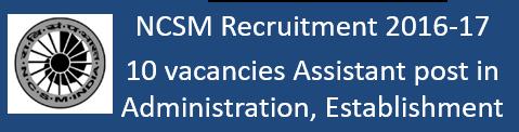 NCSM Govt. Jobs 2016-17