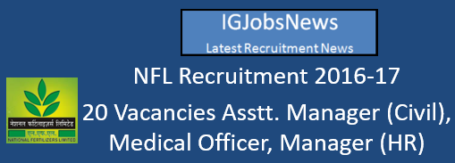 NFL Recruitment 2016-17 - 20 Vacancies Asstt. Manager (Civil), Medical Officer, Manager (HR) Upcoming Notification