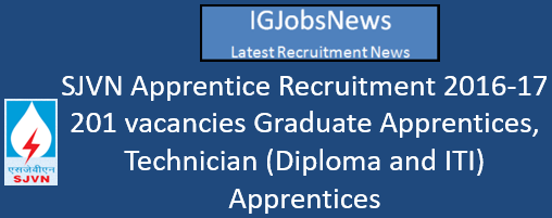 SJVN Apprentice Recruitment 2016-17 - 201 vacancies Graduate Apprentices, Technician (Diploma and ITI) Apprentices