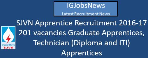 SJVN Apprentice Recruitment 2016-17 - 201 vacancies Graduate Apprentices, Technician (Diploma and ITI) Apprentices
