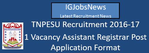 TNPESU Recruitment 2016-17 - 1 Vacancy Assistant Registrar Post Application Format