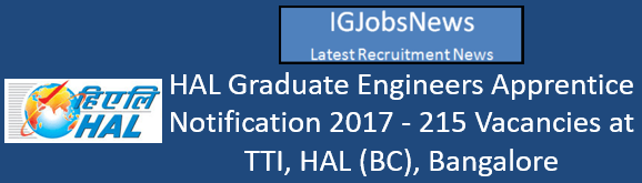 HAL Graduate Engineers Apprentice Notification 2017 - 215 Vacancies at TTI, HAL (BC), Bangalore