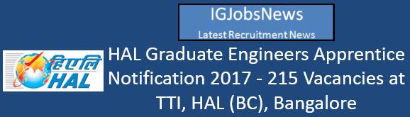 HAL Graduate Engineers Apprentice Notification 2017 - 215 Vacancies at TTI, HAL (BC), Bangalore