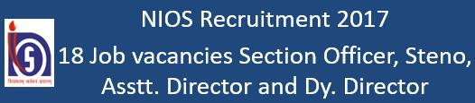 NIOS Govt. Jobs 2016-17