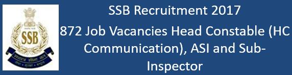 SSB Govt. Jobs 2017