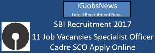 SBI Recruitment 2017 - 11 Job Vacancies Specialist Officer Cadre SCO Apply Online